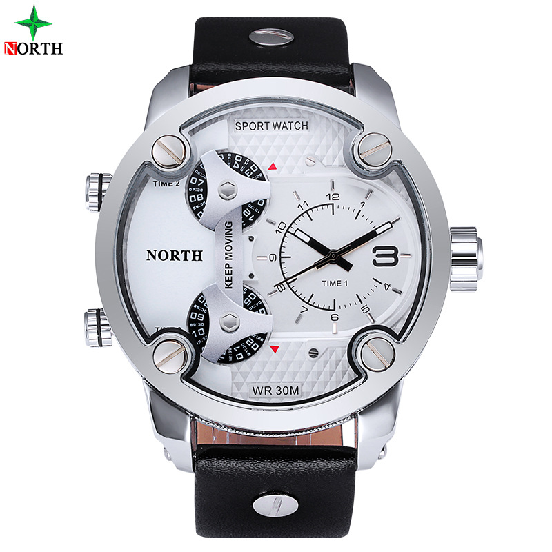 North Brand Fashion Man Sport Watches 3 Time Dial Multiple Time Zone Business Quartz Wristwatch for Man Waterproof  Casual Clock weide casual genuin brand watch men sport back light quartz digital alarm silicone waterproof wristwatch multiple time zone