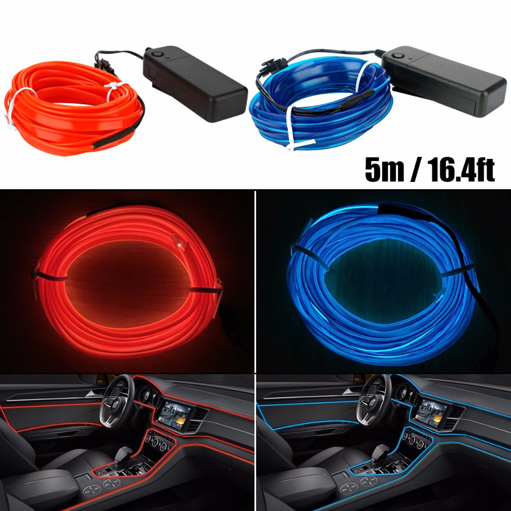 5m Neon Light Dance Party Decor Light Neon LED lamp Flexible EL Wire Rope Tube Waterproof LED Strip With Controller car styling