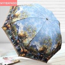 2017 Новый Творческий абстрактная живопись супер пляжный зонтик взрослых УФ солнцезащитный крем зонтик parapluie paraguas зонтик дождь женщины мужчины