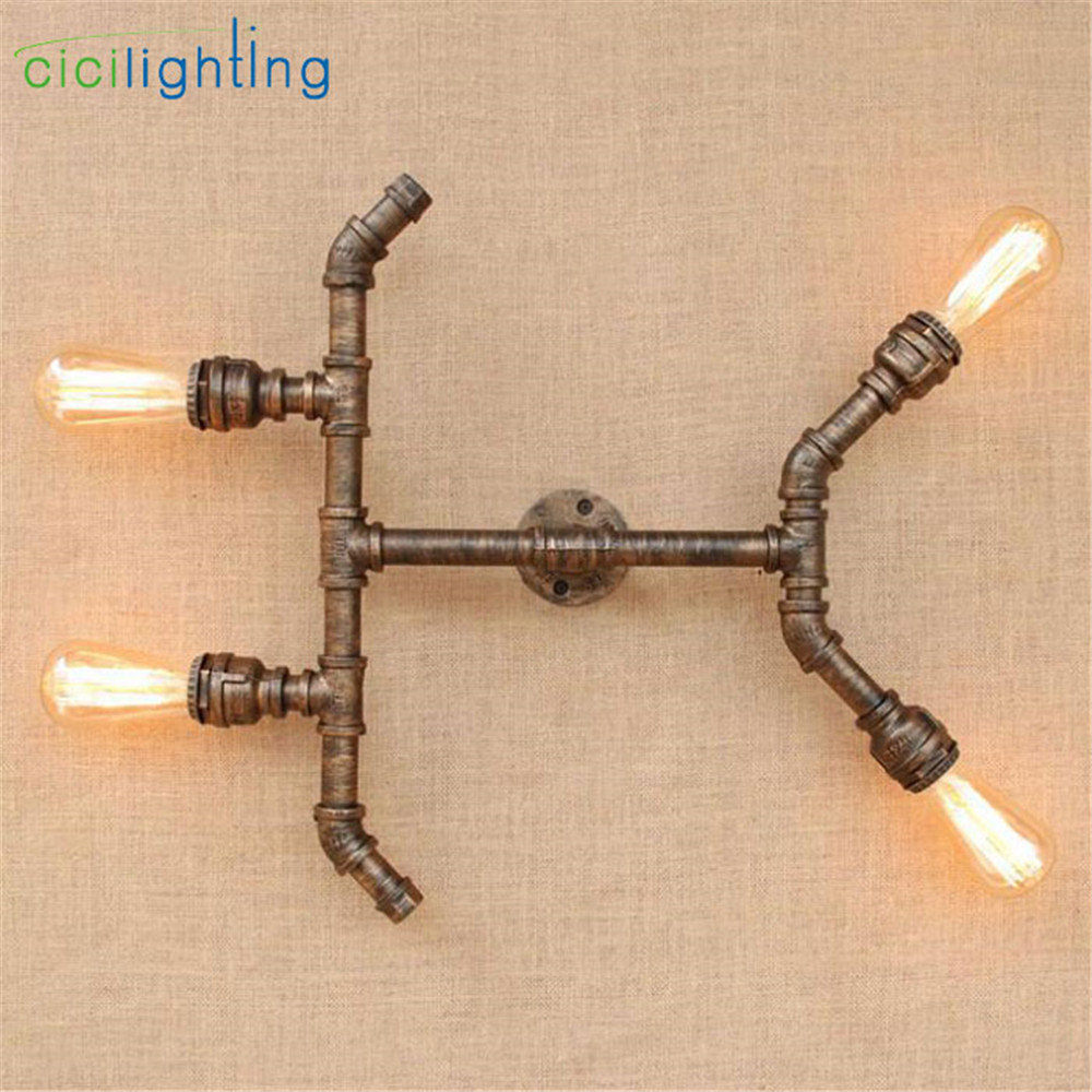 Antique Edison bulb wall lamp minimalist 4pcs E27 rustic plumping pipe wall ceiling lighting new wandlamp lamba for home office