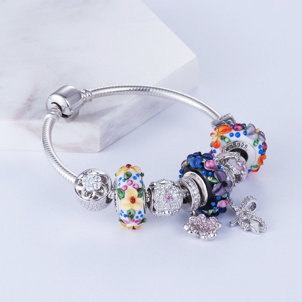Image 3 - Blooming flowers Handmade Murano Glass Beads 925 Sterling Silver 