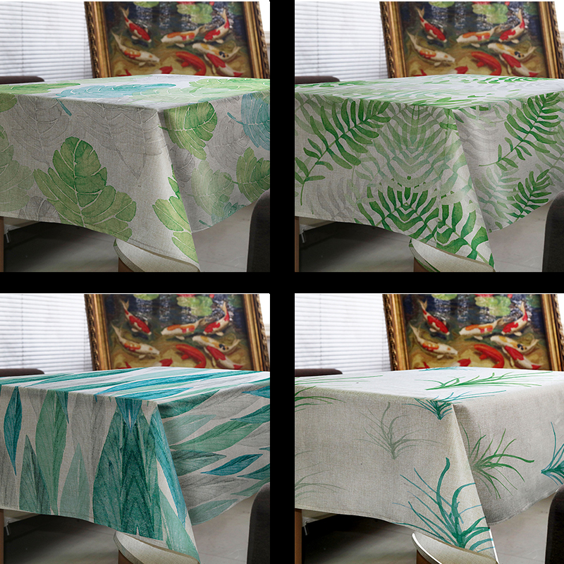 tablecloth tapete toalha de mesa linen Green plant leaves Tablecloth for table Home Protection and decoration Elegant Table cove