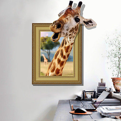 Bon DIY Cute Window 3D Giraffe Bathroom Decor Removable Wall Sticker Art Mural  Decal