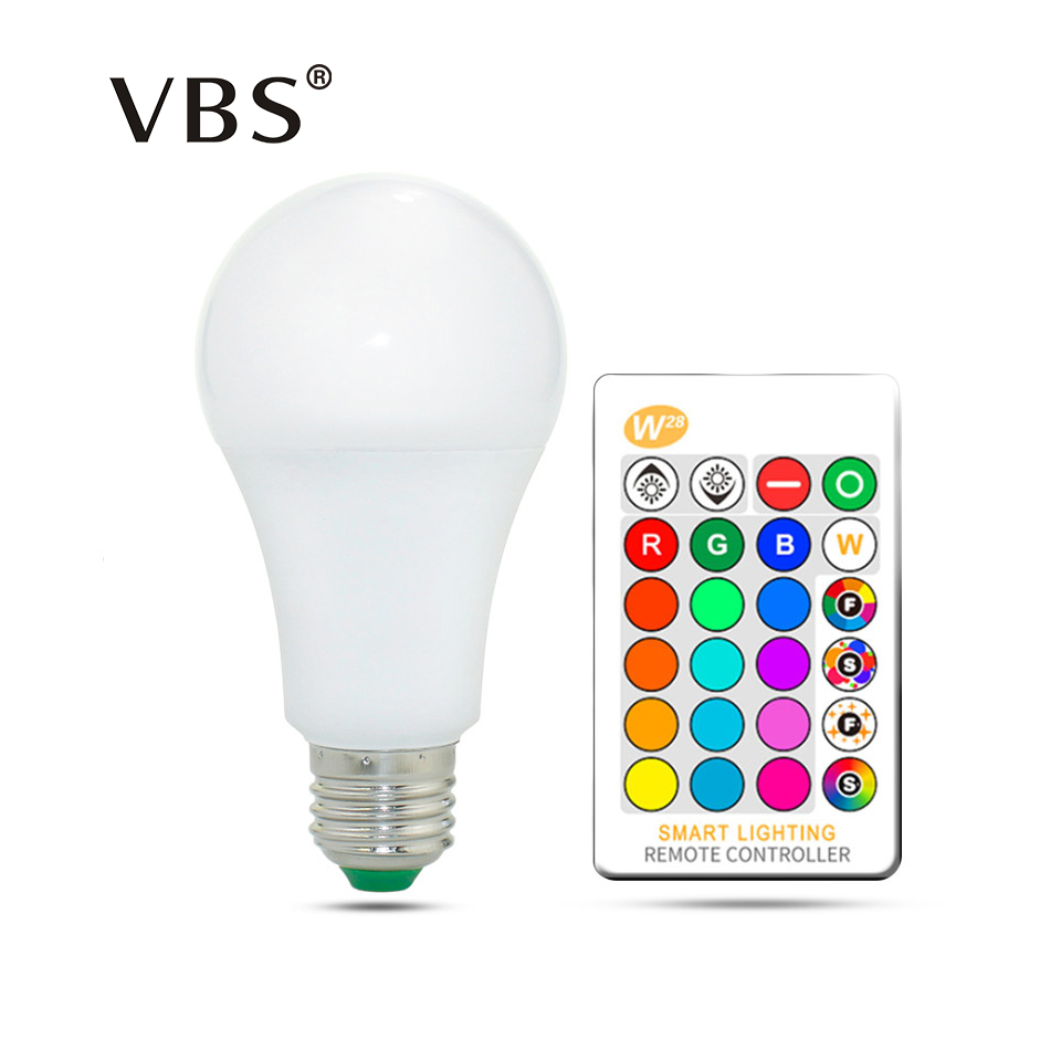 E27 E14 RGB Bulb Lamp AC85-265V 3W 5W 10W 15W RGBW RGBWW LED Spot Light Dimmable Magic RGB Bulb with IR Remote Control 16 Colors