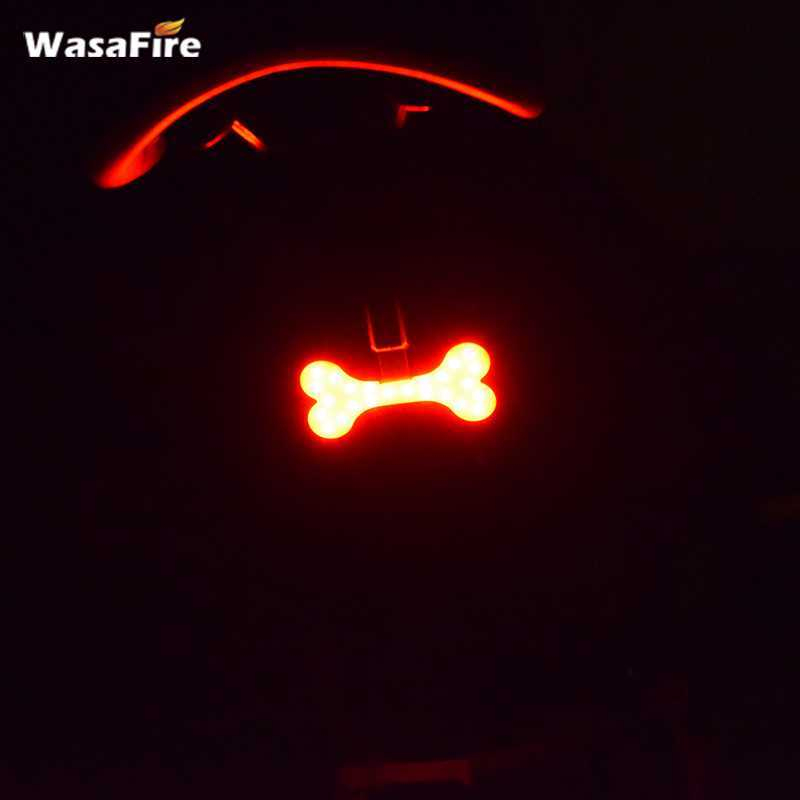 Bone Shape Bike Tail Lamp 5 Modes Red Bicycle Rear Light COB LED Lamp Bicycle Accessory USB Rechargeable with Bike Light Holder