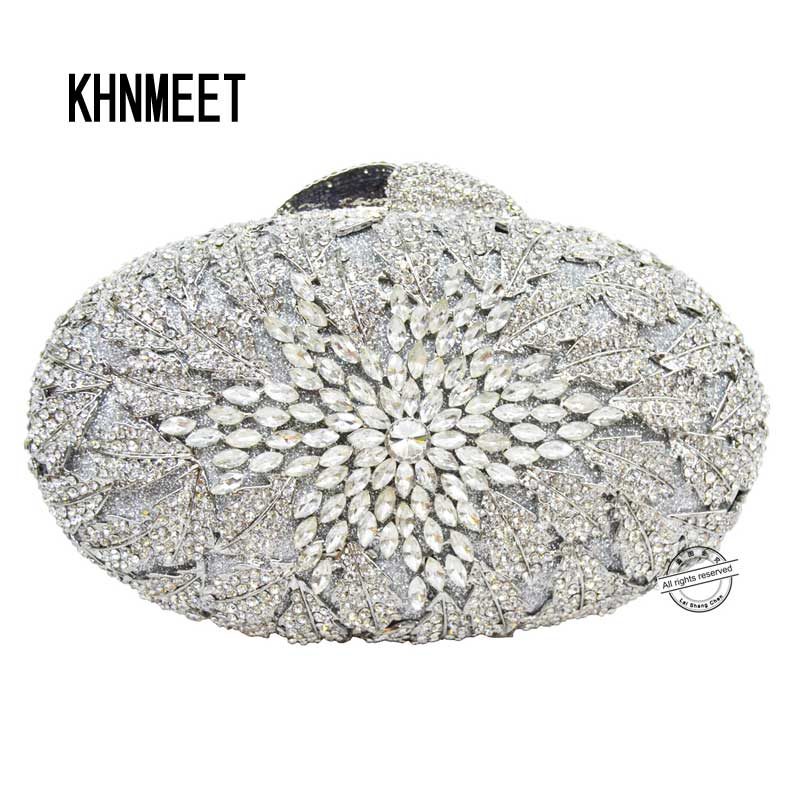 Silver clutch evening bags women Luxury Diamond Crystal flower party Purse Diamond handbags chain crystal clutch bag SC79 women custom name crystal big diamond clutch crossbody chain bag women handbags evening clutch bag 1001bg