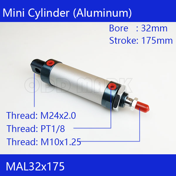 Free shipping barrel 32mm Bore 175mm Stroke  MAL32x175 Aluminum alloy mini cylinder Pneumatic Air Cylinder MAL32-175 16mm bore 100mm stroke aluminum alloy pneumatic mini air cylinder mal16x100 free shipping
