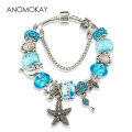 HOT 2016 Fashion Heart Lock Tortoise Charm Bracelet Blue Crystal Glass Beads Bracelets & Bangles for Women Jewelry Gift P15408