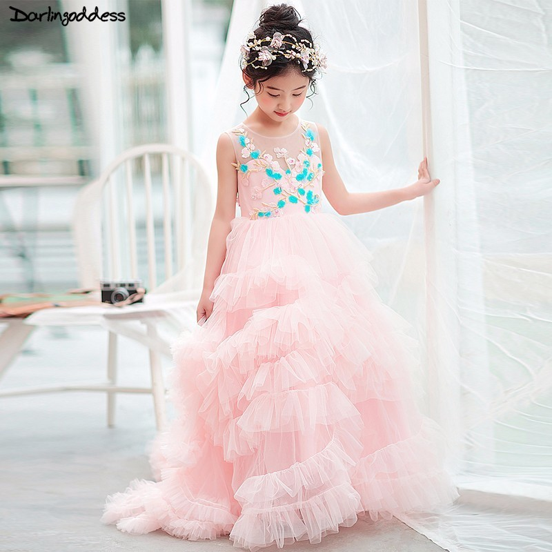 Luxury Cloud   Flower     Girl     Dresses   For Weddings Pink Ball Gown First Communion   Dresses   For   Girls   2018 Evening Party   Dress   for   Girl