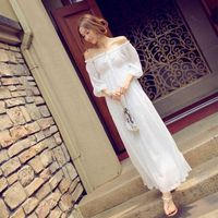 2017 New Bohemianach Women Long dress Slash neck Slim Chiffon Sexy Off the shoulder Holiday Sea Dresses White Yellow 3017