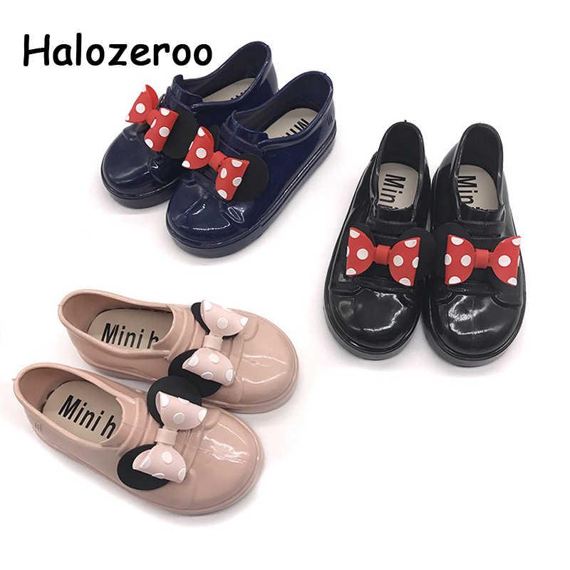ฤดูใบไม้ผลิเด็กทารก Bow รองเท้าเด็ก PVC รองเท้าเด็กวัยหัดเดินแฟชั่นรองเท้าวุ้นเจ้าหญิงรองเท้ากันน้ำสีดำ Mary Jane 2019