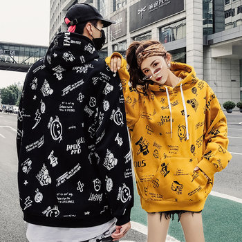 Newgraffiti and fleece thick hoodies from Europe and America 2018 men's and women's loose oversieze hoodies