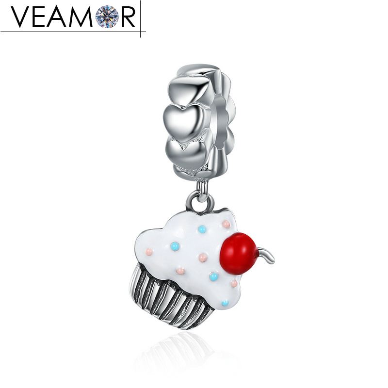 VEAMOR 925 Sterling Silver Mixed Enamel Sweet Cherry Cupcake Pendant Charms Fit Pandora Bracelets Necklaces DIY Jewelry Making