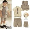 2016 новый мальчик , установленные летние джентльмен 3 шт. костюм тельняшка + короткий рукав рубашки + брючный костюм 1 - 4 т детское комплект одежды