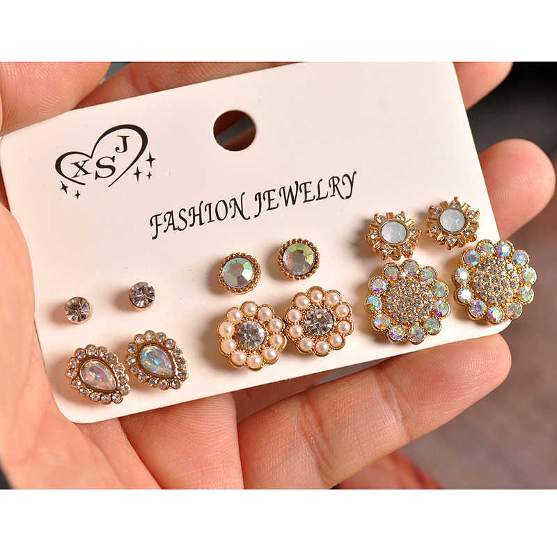 New fashion women's jewelry wholesale girls birthday party pearl ear studs beautiful mix-and-match 6 pairs /set earrings gift