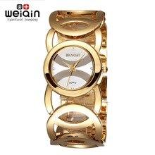 WEIQIN Mujeres Brazalete de Oro de Relojes de Primeras Marcas de Lujo Famoso Reloj de Señoras Skeleton Band Reloj de Cuarzo Relogio Feminino reloj mujer