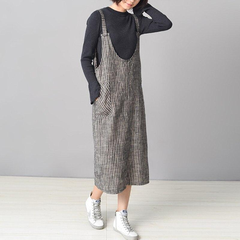 Женский свитер без рукавов, в полоску, с карманами, на бретельках, 2019