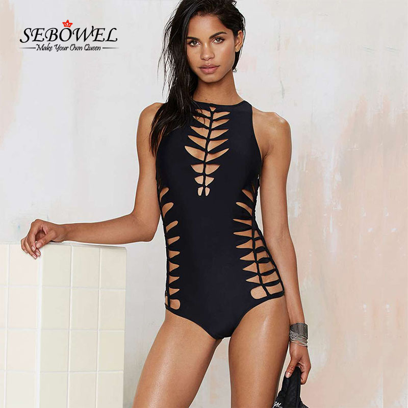 SEBOWEL 2017 Brazilian Sexy High Cut Out Swimsuit One Piece Swimwear Women High Neck Bodysuit Monokini Female Swimming Suits high neck one piece swimsuit women high cut thong swimwear sexy bandage trikini hollow out mesh bodysuit female zipper monokini