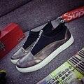 Мода Сияющий Готический Молнии Обувь Металлик Повседневная Дизайн Хип-Хоп Zapatos Silver Glitter Урожай Гладкий Ретро Бег Размер 9.5