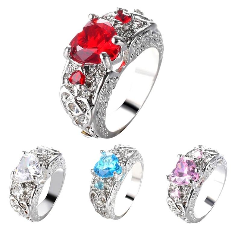 1 шт. Романтический Модные женские принцесса белый красный, голубой и розовый сердце кольцо ювелирные изделия обещание Обручение кольцо для...