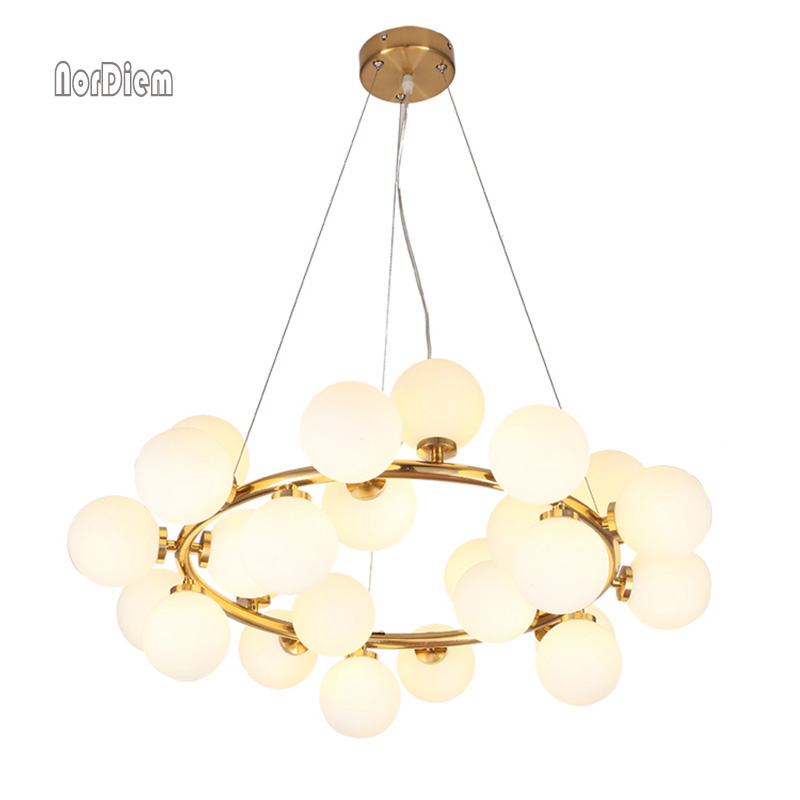 Magic Bean moderne LED suspension lustre lumières salon salle à manger G4 or/noir blanc verre lustre luminaires - 2