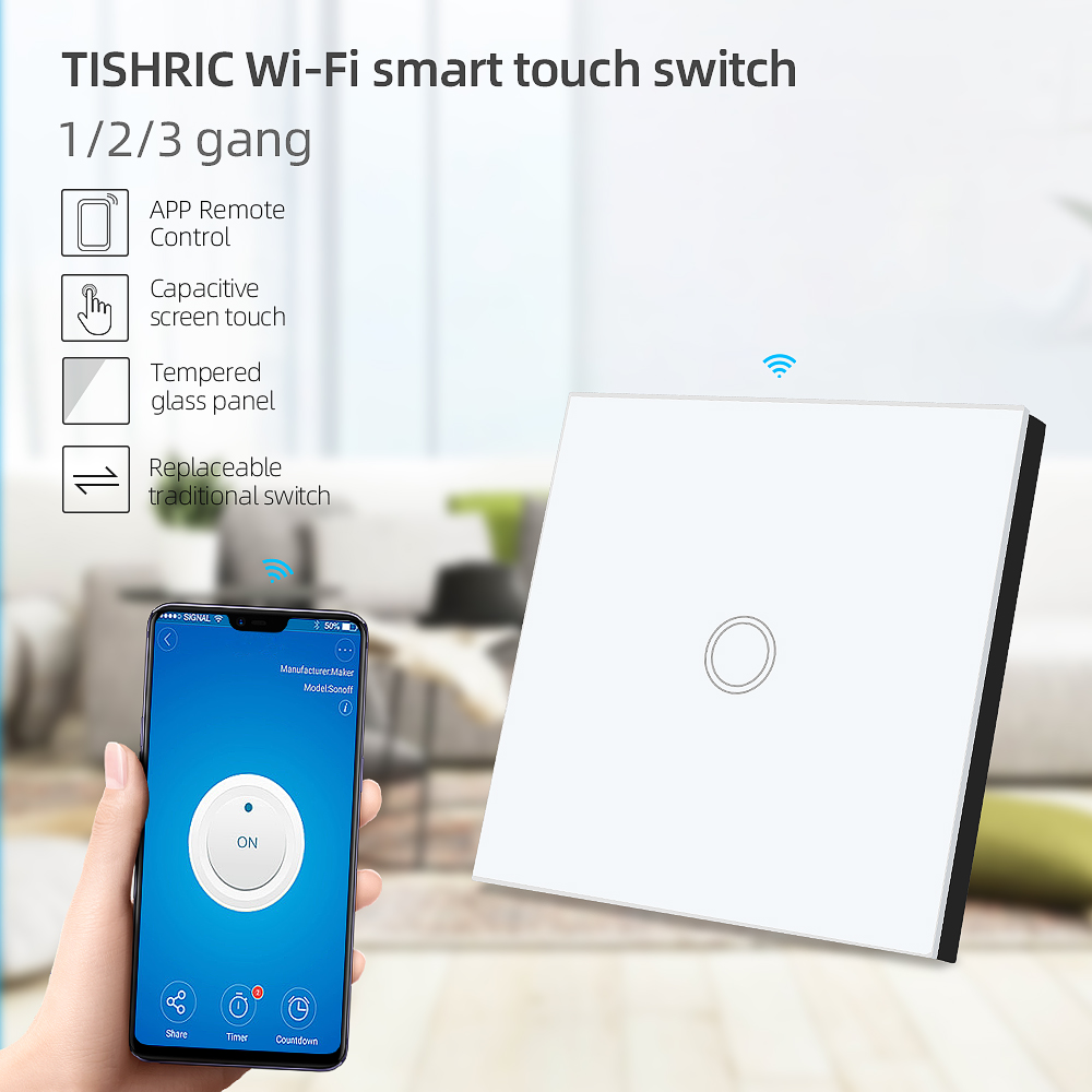 TISHRIC 86 1/2/3 Gang Wifi Light Touch Switch Wall Led Glass Panel eWelink App Remote Control Smart Home Automation Google Alexa(China)