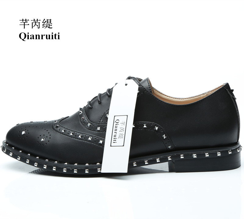 Qianruiti Silver Studs Split Leather Men Lace-up Loafers Italy Smoking Shoes Spike Rivets Flats EU39-EU46 Men Casual Shoes
