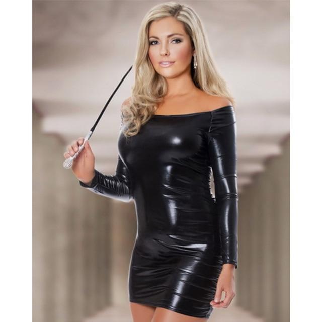 Women Plain Wetlook Off Shoulder Hip Wrapped Mini Dress Slash Neck Long Sleeves Sheath Fashion Night Club Dresses Vestidos