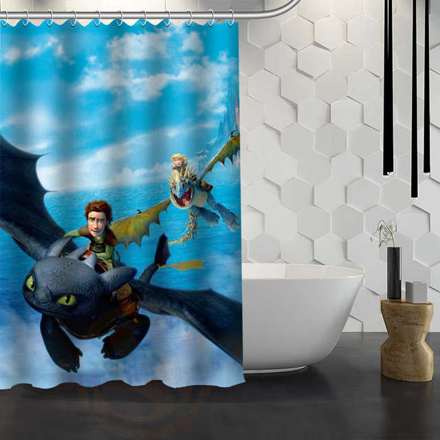 Custom How To Train Your Dragon Shower Curtain With Hooks Fabric Bathroom Waterproof
