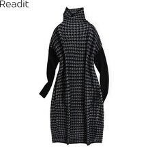 Readit вязаное платье 2017 осень-зима Для женщин теплый свитер в стиле пэчворк Водолазка с длинным рукавом Свободные вязаное платье vestidos d2717
