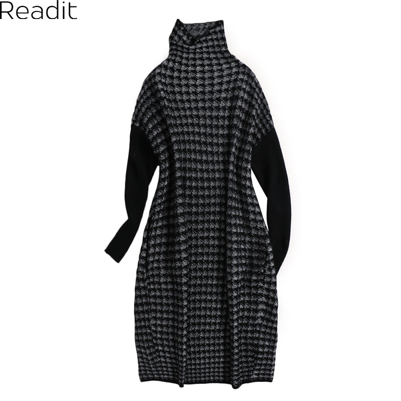 Readit Knitted Dress 2017 Autumn Winter Women Warm Sweater Patchwork Turtleneck Long Sleeve Loose Knitted Dress Vestidos D2717