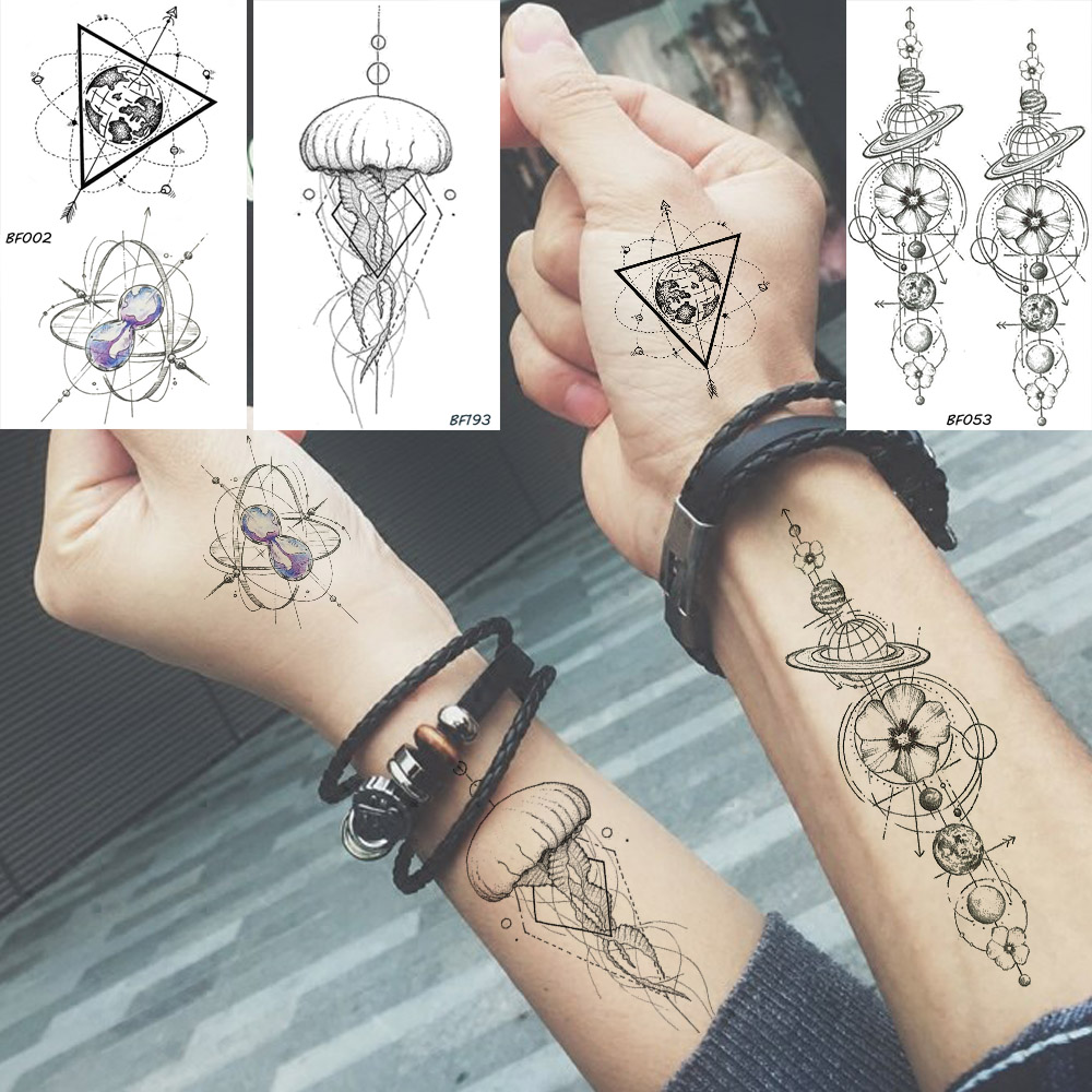 Baofuli Waterproof Temporary Sticker Geometric Planet Jellyfish Tattoo Black Triangle Tattoos Body Arm Men Fake Tatoos Chains circle