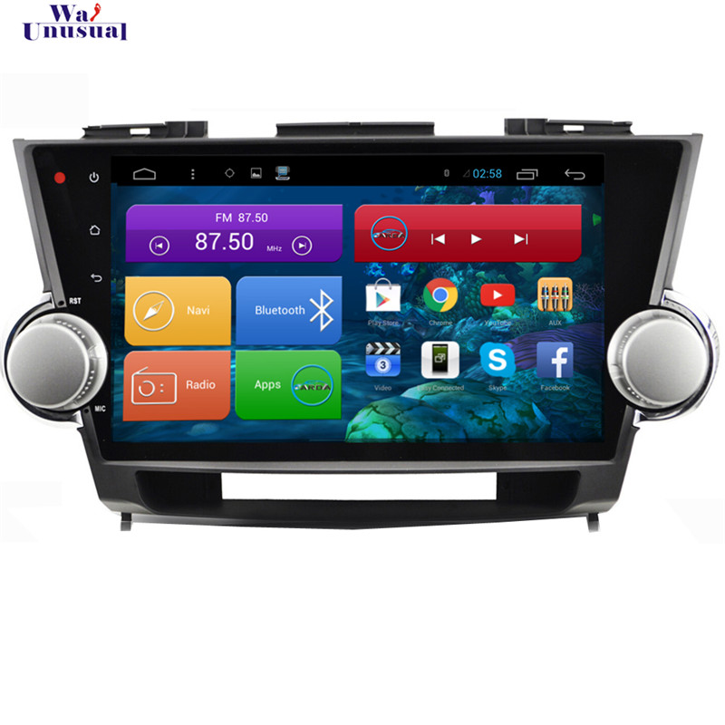 WANUSUAL 10.2 Quad Core Android 6.0 GPS Navigation for Toyota Highlander 2009 2010 2011 2012 2013 2014 With BT Wifi 1024*600