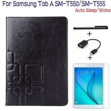 4 en 1 Cubierta de Cuero de Lujo Elegante de la PU para Samsung Galaxy Tab 9.7 T550 T555 Tablet + Protector Libre de La Pantalla + OTG + Pen