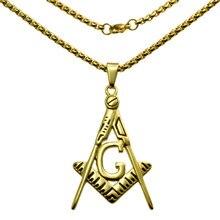 ФОТО Cool 18k gold filled masonry Masonic Mason Pendant  chain necklace N283