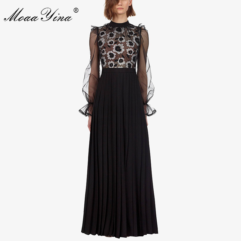 MoaaYina Fashion Designer Runway Dress Spring Summer Women Dress Floral Hollow Out Patchwork Pleated Maxi Dresses