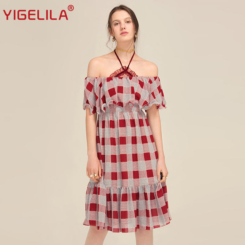 8169a4bf1f66 YIGELILA 2018 Latest New Women Summer Dress Sexy Slash Neck Off Shoulder  Ruffles Beach Plaid Empire Knee Length Dress 62454-in Dresses from Women s  Clothing ...