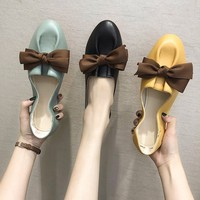 2019 autumn new fashion simple color matching flat shoes women retro style soft and comfortable non slip bow decoration casual s
