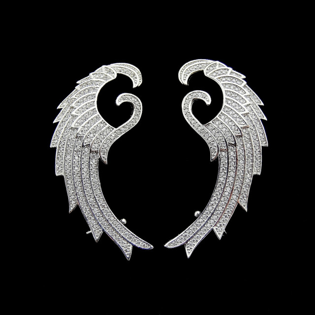 Hot Design Micro Pave Setting AAA Cubic Zirconia Jewelry Fashion Angel Wings Ear Cuff Stud Earrings For Women