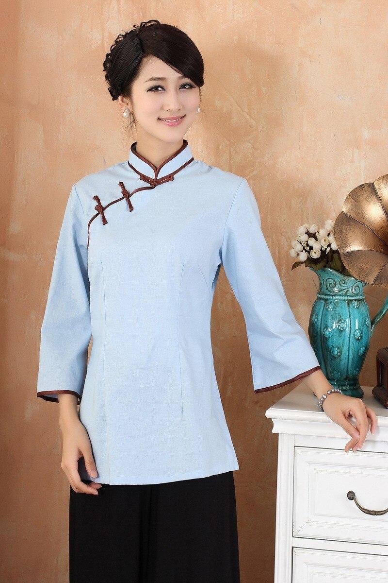 Бесплатная доставка Light Blue китайских Для женщин льняная рубашка Топ Размеры размеры S M L XL XXL, XXXL 2382-1