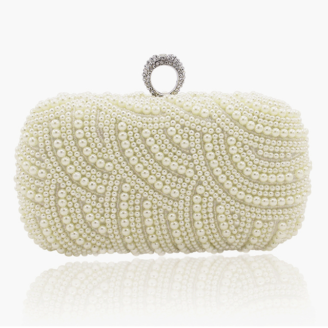 2019 100% Hand made Luxury Pearl Clutch Wallets Women Purse Diamond Chain white Evening Bags for Party Wedding S001