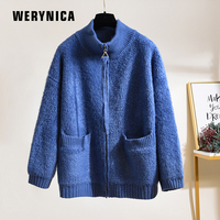 Werynica New Spring Autumn Women Fashion Knitting Cardigan Sweater Women Knitted Casual Warm Zipper Solid Cardigan For Women