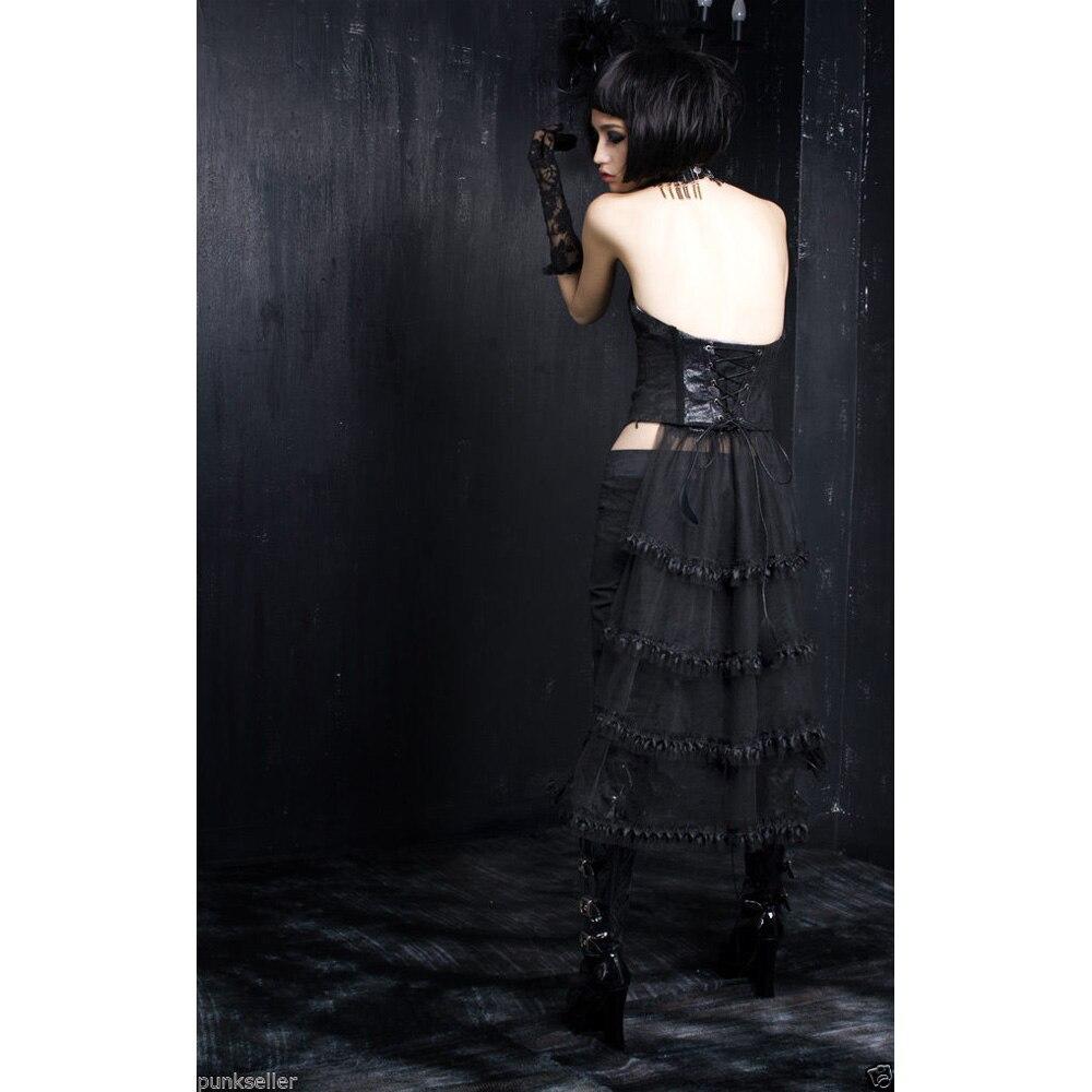 Punk Rave noir Sexy gilet gothique Vampire Rock femmes Bandage haut avec queue de dentelle Y304 - 5