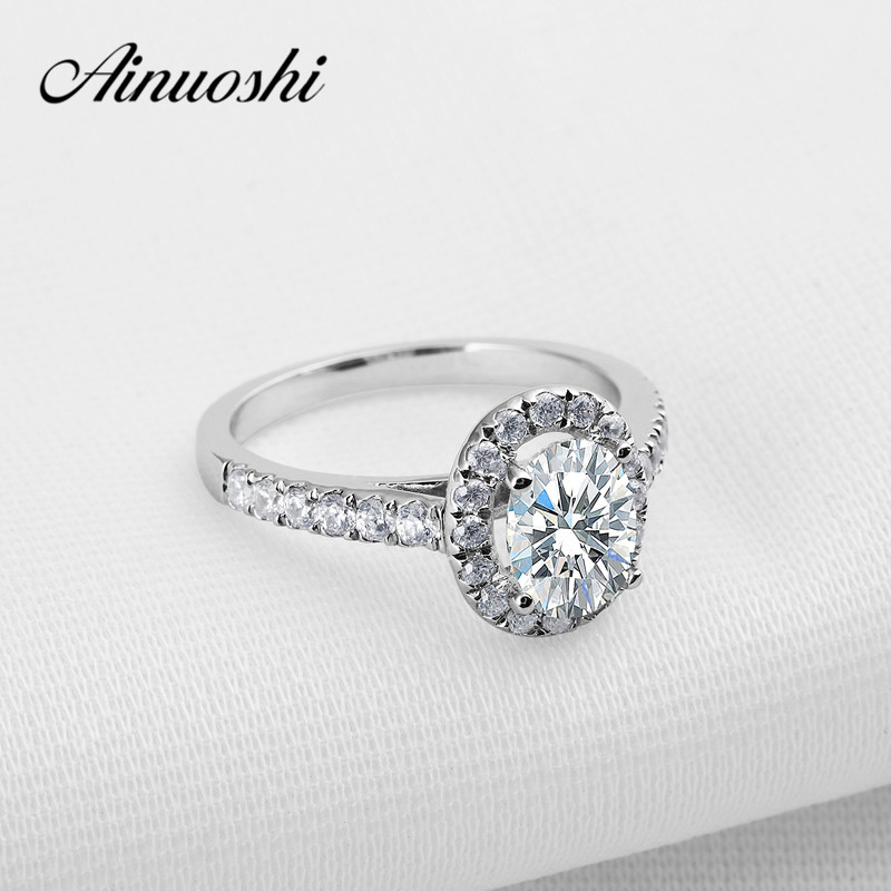AINOUSHI Luxury 1.25 Carat Oval Cut Sona Ring with Micro Paved nscd Halo Ring for Women Engagement Wedding Halo Ring Love Bands