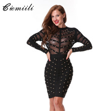 CIEMIILI 2017 New Women Evening Party Bandage Dress Mesh Knee length Long Sleeve Summer Dress Vestidos