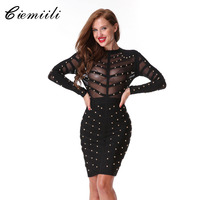 CIEMIILI 2017 Women Winter New Beading Bandage Dress Evening Party Bodycon Knee Length Long Sleeve Dresses