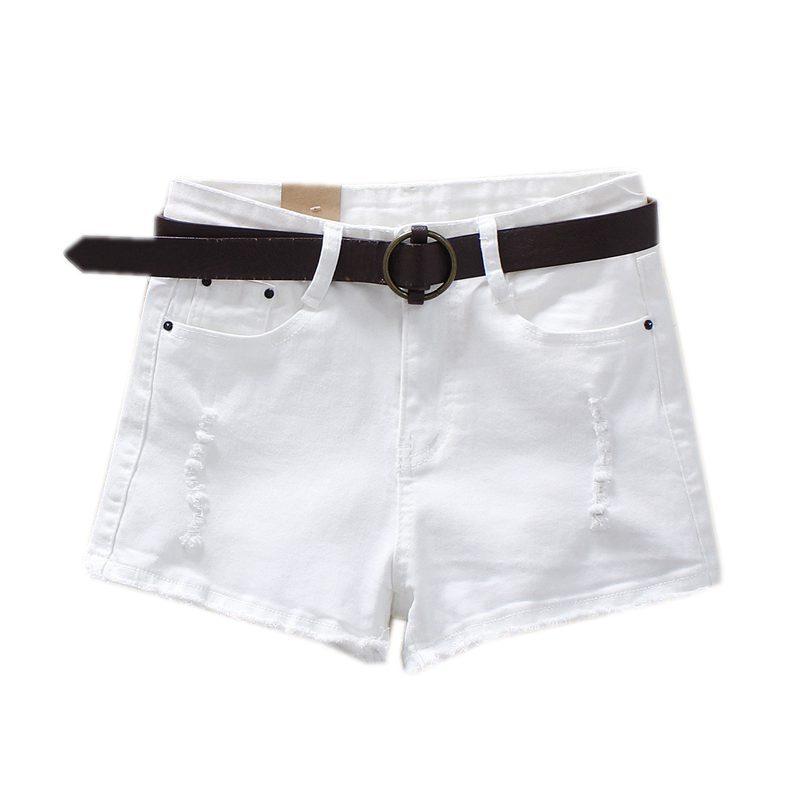 Denim Shorts Women Buttons Elastic Ripped Hole White High Waist Shorts Casual 2018 Pockets Sexy Mini Short Jeans Shorts