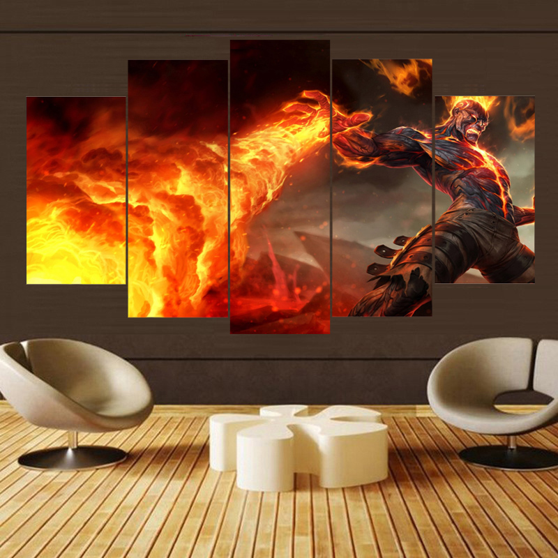 Painting Canvas Wall Art 5 Piece Canvas Art Canvas Wall Art For HD Print Game League of Legends Canvas Wall Art For Living Room in Painting Calligraphy from Home Garden