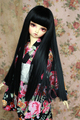 1/3 BJD Doll Girl Wig Heat Resistant Synthetic Hair Neat Bangs Straight Black Long Wig