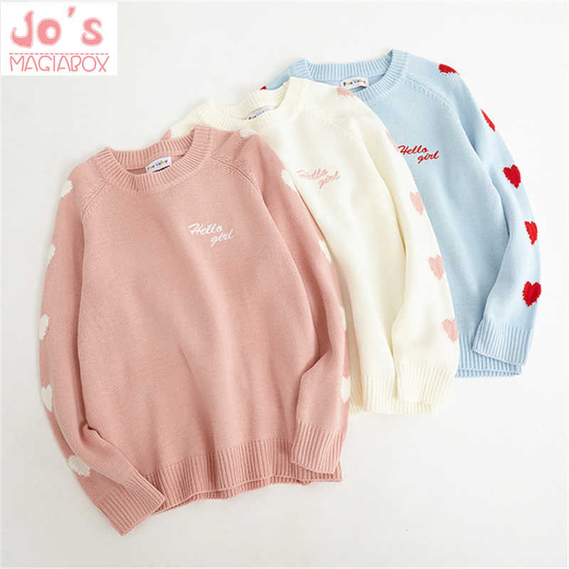 Sweater Sweet Love Ladies Pullovers Kawaii Letter Embroidery O-Neck Sweater Geometric Love Long Sleeve Loose Regular Casual Cute